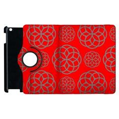 Geometric Circles Seamless Pattern On Red Background Apple iPad 3/4 Flip 360 Case