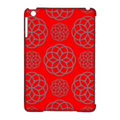 Geometric Circles Seamless Pattern On Red Background Apple Ipad Mini Hardshell Case (compatible With Smart Cover)