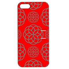 Geometric Circles Seamless Pattern On Red Background Apple iPhone 5 Hardshell Case with Stand