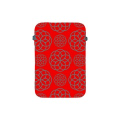 Geometric Circles Seamless Pattern On Red Background Apple iPad Mini Protective Soft Cases