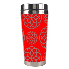 Geometric Circles Seamless Pattern On Red Background Stainless Steel Travel Tumblers
