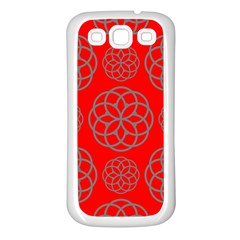 Geometric Circles Seamless Pattern On Red Background Samsung Galaxy S3 Back Case (white)