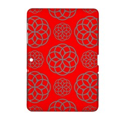 Geometric Circles Seamless Pattern On Red Background Samsung Galaxy Tab 2 (10.1 ) P5100 Hardshell Case