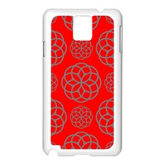 Geometric Circles Seamless Pattern On Red Background Samsung Galaxy Note 3 N9005 Case (White)