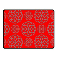 Geometric Circles Seamless Pattern On Red Background Double Sided Fleece Blanket (Small)