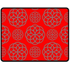 Geometric Circles Seamless Pattern On Red Background Double Sided Fleece Blanket (Medium)