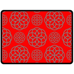 Geometric Circles Seamless Pattern On Red Background Double Sided Fleece Blanket (Large)