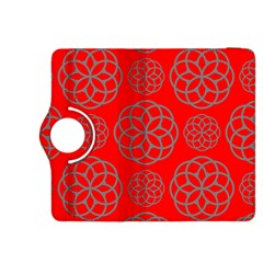 Geometric Circles Seamless Pattern On Red Background Kindle Fire HDX 8.9  Flip 360 Case
