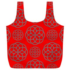 Geometric Circles Seamless Pattern On Red Background Full Print Recycle Bags (L)