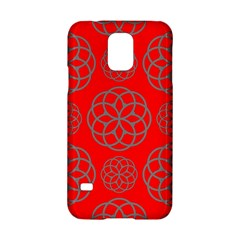 Geometric Circles Seamless Pattern On Red Background Samsung Galaxy S5 Hardshell Case