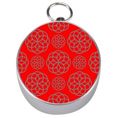 Geometric Circles Seamless Pattern On Red Background Silver Compasses