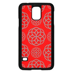 Geometric Circles Seamless Pattern On Red Background Samsung Galaxy S5 Case (Black)