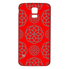 Geometric Circles Seamless Pattern On Red Background Samsung Galaxy S5 Back Case (white)