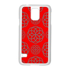 Geometric Circles Seamless Pattern On Red Background Samsung Galaxy S5 Case (White)