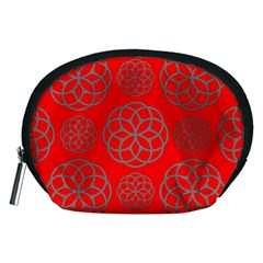 Geometric Circles Seamless Pattern On Red Background Accessory Pouches (Medium)