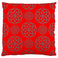 Geometric Circles Seamless Pattern On Red Background Large Flano Cushion Case (Two Sides)