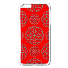 Geometric Circles Seamless Pattern On Red Background Apple iPhone 6 Plus/6S Plus Enamel White Case