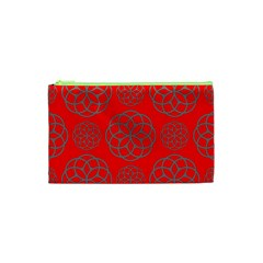 Geometric Circles Seamless Pattern On Red Background Cosmetic Bag (XS)