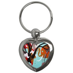 Colorful Graffiti In Amsterdam Key Chains (Heart)