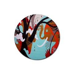 Colorful Graffiti In Amsterdam Rubber Round Coaster (4 Pack)