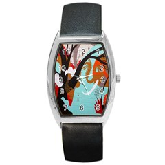 Colorful Graffiti In Amsterdam Barrel Style Metal Watch