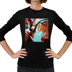 Colorful Graffiti In Amsterdam Women s Long Sleeve Dark T Shirts