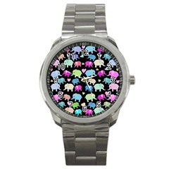 Cute elephants  Sport Metal Watch