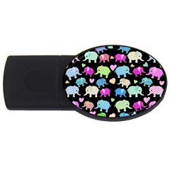 Cute elephants  USB Flash Drive Oval (4 GB)