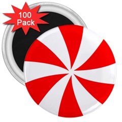 Candy Red White Peppermint Pinwheel Red White 3  Magnets (100 Pack)