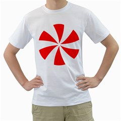 Candy Red White Peppermint Pinwheel Red White Men s T Shirt (white) (two Sided)
