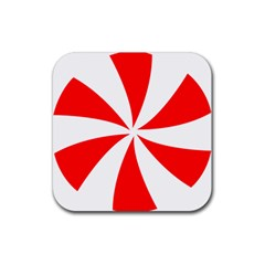Candy Red White Peppermint Pinwheel Red White Rubber Square Coaster (4 Pack)