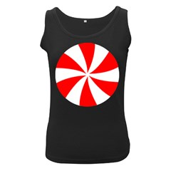 Candy Red White Peppermint Pinwheel Red White Women s Black Tank Top