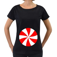Candy Red White Peppermint Pinwheel Red White Women s Loose Fit T Shirt (black)