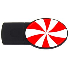 Candy Red White Peppermint Pinwheel Red White Usb Flash Drive Oval (4 Gb)
