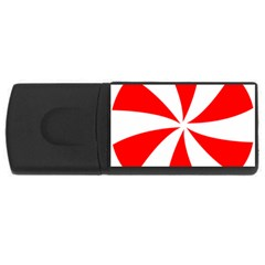 Candy Red White Peppermint Pinwheel Red White Usb Flash Drive Rectangular (4 Gb)