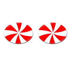 Candy Red White Peppermint Pinwheel Red White Cufflinks (Oval)