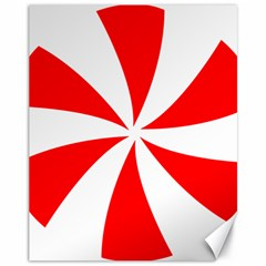 Candy Red White Peppermint Pinwheel Red White Canvas 11  x 14