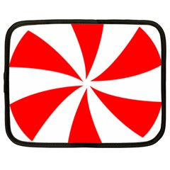 Candy Red White Peppermint Pinwheel Red White Netbook Case (XXL)