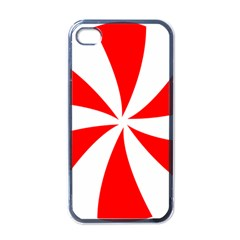 Candy Red White Peppermint Pinwheel Red White Apple iPhone 4 Case (Black)