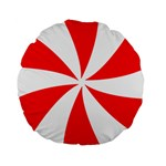 Candy Red White Peppermint Pinwheel Red White Standard 15  Premium Round Cushions Back