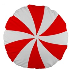 Candy Red White Peppermint Pinwheel Red White Large 18  Premium Round Cushions