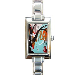 Colorful Graffiti In Amsterdam Rectangle Italian Charm Watch