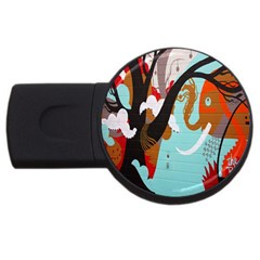 Colorful Graffiti In Amsterdam USB Flash Drive Round (1 GB)