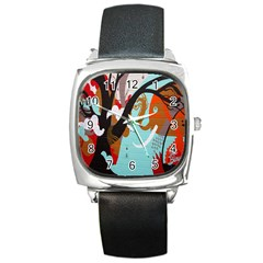 Colorful Graffiti In Amsterdam Square Metal Watch