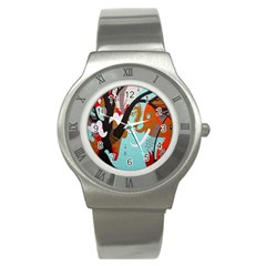 Colorful Graffiti In Amsterdam Stainless Steel Watch