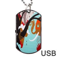 Colorful Graffiti In Amsterdam Dog Tag USB Flash (One Side)