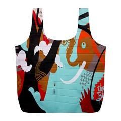 Colorful Graffiti In Amsterdam Full Print Recycle Bags (L)