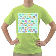 Cute Elephants  Green T Shirt