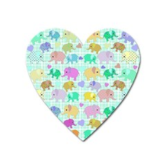 Cute elephants  Heart Magnet