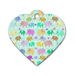 Cute elephants  Dog Tag Heart (Two Sides)